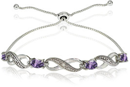 GemStar USA Sterling Silver Amethyst Figure 8 Infinity Adjustable Bolo B... - $103.64