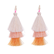 The Cats Pajama Blush Ombre Fringe Tassel Drop Earrings - $42.00
