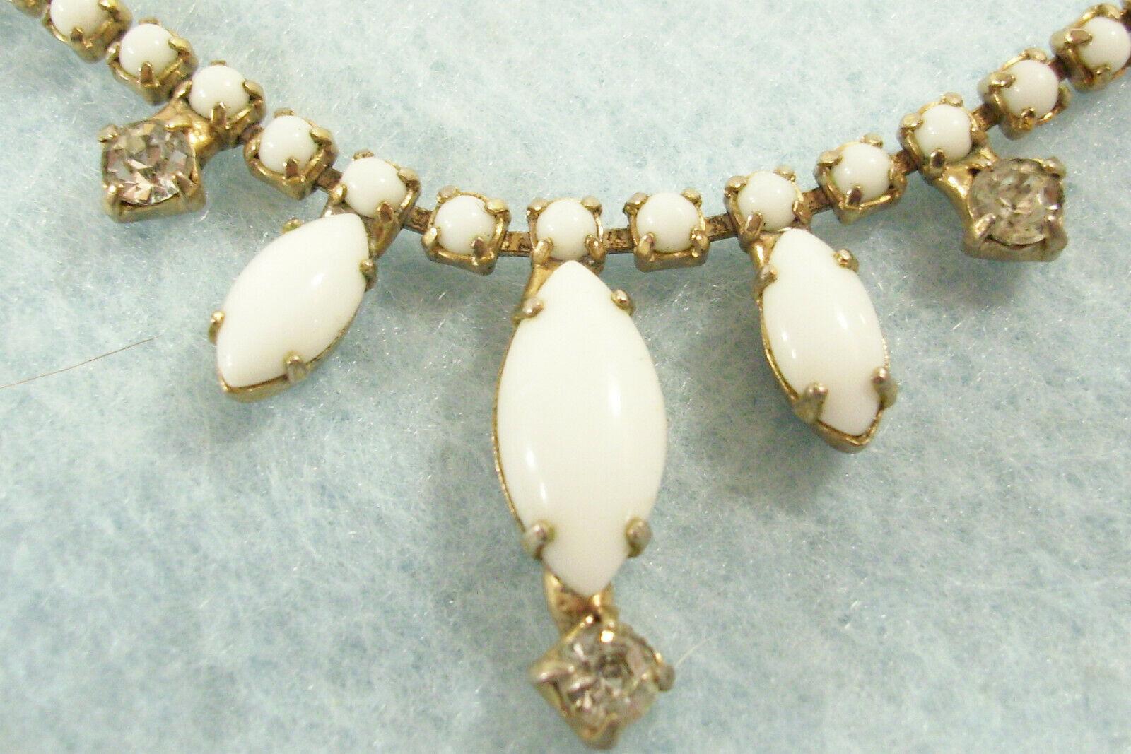 Vintage Pastel Rhinestone White Milkglass Necklace