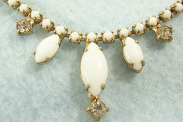 White Milk Glass Clear Rhinestones Choker Necklace Cabochons Marquise Vintage  - $19.75