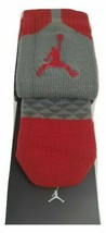 New Nike Elite-Cushioned Basketball Jordan Crew Socks Jumpman 23 Gray/Re... - $15.99