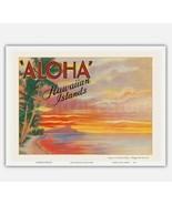 Aloha, Hawaiian Islands - Sunset on Diamond Head - 1935 Vintage Postcard... - $22.78