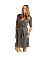 Toad&Co Women's Cue Wrap Cafe Dress, Cocoa Stripe Print, M - $75.23