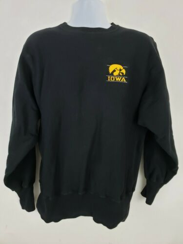 Primary image for Vintage Champion Iowa Hawkeyes Embroidered Black Reverse Weave Sweatshirt Size L