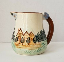 Stoneware Creamer Hand painted Landscape Tree House Japan - $9.98