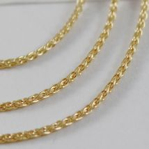 SOLID 18K YELLOW GOLD SPIGA WHEAT EAR CHAIN 16 INCHES, 1.5 MM, MADE IN ITALY image 3