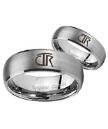 Bride and Groom CTR Dome Brushed Tungsten Carbide Men's Ring Set - $79.98