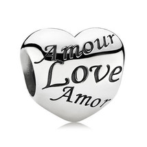 Authentic PANDORA Silver Charm #791111 Language Of Love Amour Heart NEW - $26.77