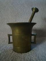"Antique 18-19c European Vintage Brass Mortar & Pestle 9.9 lbs Heavy 6.5""... - $197.00"