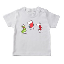 Cute Mom Dad And Son Christmas Socks  Boy's White T-shirt - £12.11 GBP