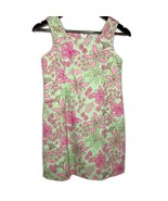 Lilly Pulitzer Green & Pink Floral Shift Dress Size 12 Mini Girl Sleeveless - $39.60