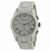 K-EA1 New Emporio Armani AR1459 Men's Grey Dial Strap Chronograph Watch Ceramic - £147.71 GBP