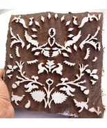 ANTIQUE WOODEN HAND CURVED STAMP BLOCK PRINT TEXTILE FABRIC PRINTING STA... - $38.80