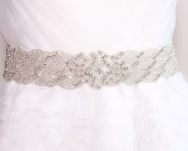 "2"" WHITE (OTHER COLOR) SATIN RIBBON CRYSTAL RHINESTONE WEDDING SASH BELT... - $18.52"