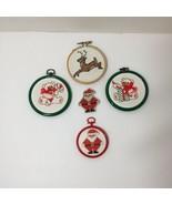 "5 Cross Stitched Christmas Ornaments Santa Reindeer Teddy Bear 3.5"" - $14.50"