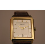 Seiko watches light brown bracelet gold tone square case vintage SKP304P1 - $110.88