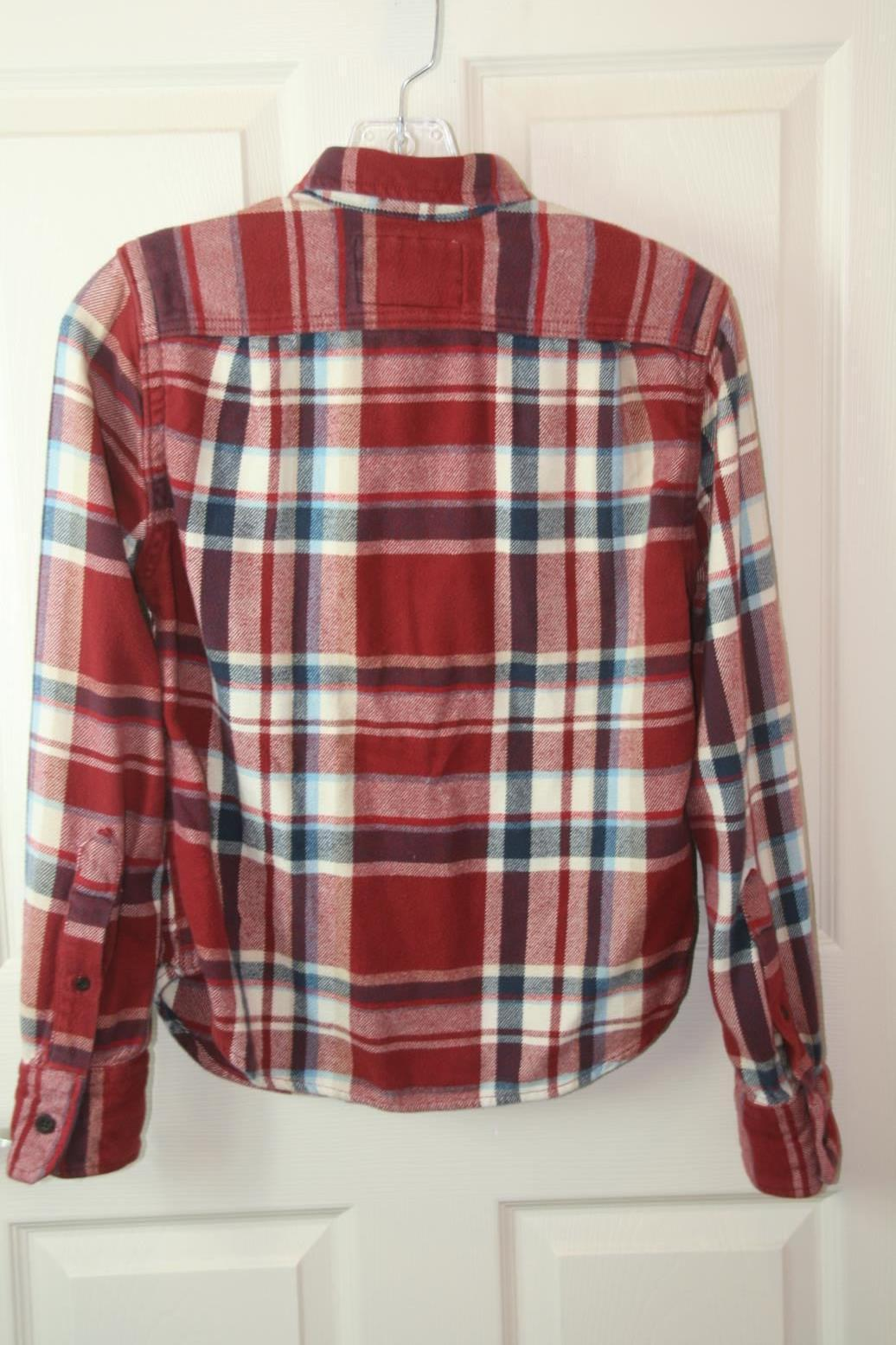 Abercrombie Red Plaid Long Sleeve Button Down Shirt Muscle Boys Sz Large
