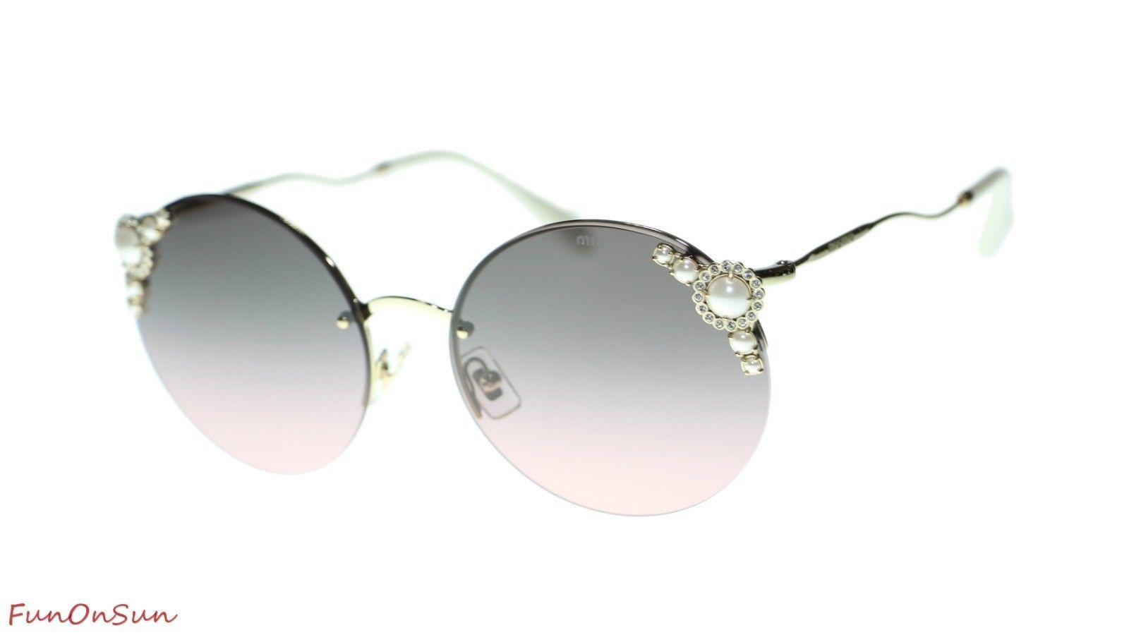 MIU MIU WOMEN SUNGLASSES MU52TS VW7146 Pale Gold/Pink Gradient Grey 60mm