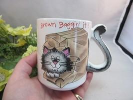 Mount Clemens Pottery coffee mug. Brown baggin it cat - $14.99