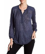 NWT Lucky Brand Patriot Blue Textured Long Sleeve Shirt Blouse Mixed Kni... - $16.82