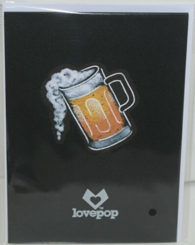 Lovepop LP2113 Beer Pop Up Card Slide Out Note White Envelope Cellophane wrapped