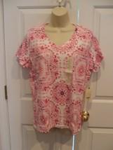 NWT St. John's Bay Top Pink Tee Shirt Short Sleeve Crew Neck 100% Cotton LARGE - $12.61