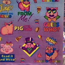 S405 MINT Lisa Frank Sassy Pigs Silly Sender Stickers Fulll Sheets Rare HTF 80s image 3