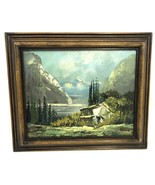Old American painting French Alps, oil on wood panel, signed circa 1960 - $179.99