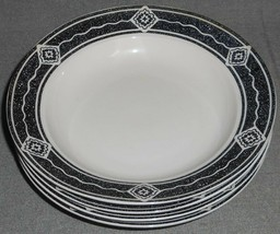 1994 Set (4) Sakura BLACK DIAMOND PATTERN Rimmed Soup Bowls SUE ZIPKIN - $23.75