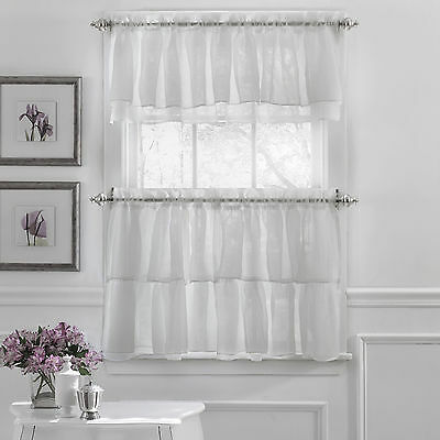 Primary image for Gypsy Crushed Voile Ruffle Kitchen Window Curtain Tiers or Valance White
