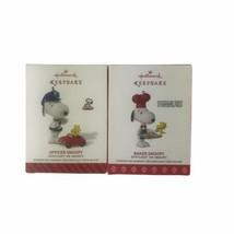 Hallmark Peanuts 2014 Officer Snoopy e& 2017 Baker Snoopy Ornaments Lot Keepsak - $41.93