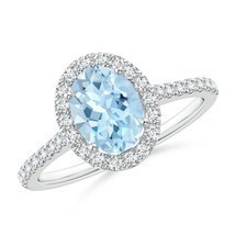 1.34tcw Oval Natural Aquamarine Halo Ring with Diamond Accents Gold/Plat... - $1,260.38+