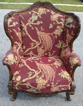 Drexel Lillian August French Style Chair Burgundy Upholstery w/ Birds, Blossoms - $682.49
