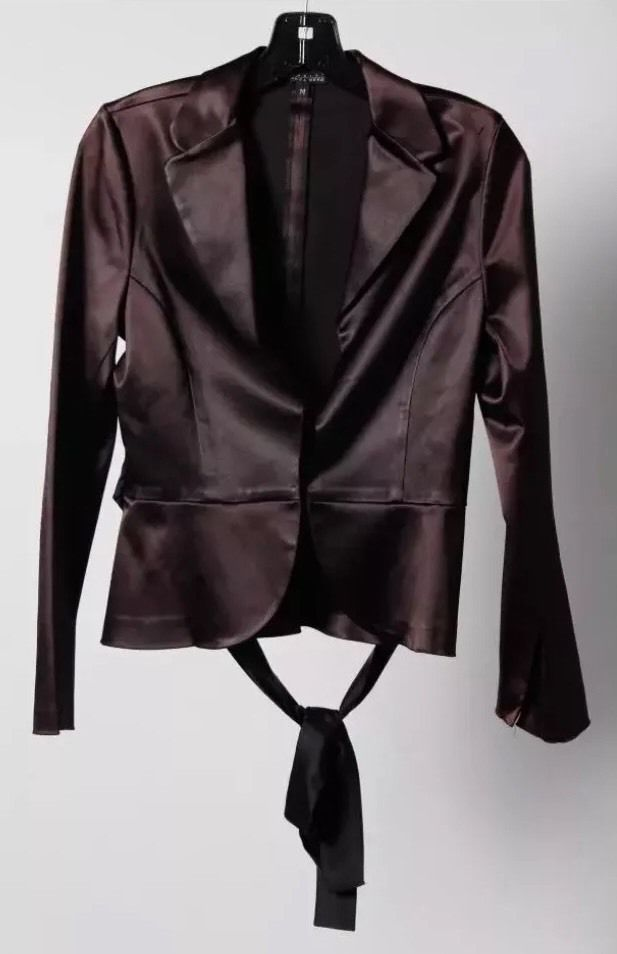 Bianca Nero Black String Tie Long Sleeve Collared Jacket Size M