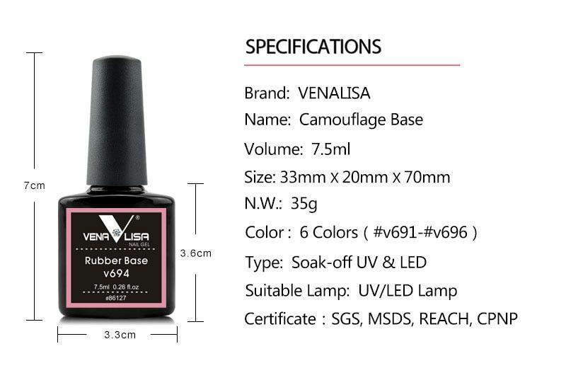 Venalisa Camouflage Color Rubber Base Coat Soak off UV Nail Art Polish Gel Lot
