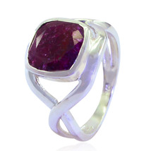 Lovely Gemstones Square Faceted Indainruby rings - Solid Silver Red Inda... - $13.47