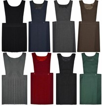 Girls Uniform Pleated Pinafore Bib Dress Childrens Plain Deep Round Neck... - $12.21+