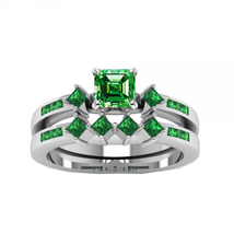 14K White Gold Finish Green Emerald Sterling silver 925 Wedding Bridal Ring Set  - $99.99