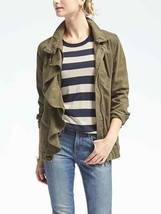Banana Republic Ruffle-Front Military Jacket, Olive, 100% Cotton, Size L... - $89.99