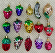 Glass Fruits Nut Pickle Christmas Ornaments Lot Of Fifteen - $19.75