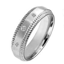Diamond 0.06 CT Wedding Anniversary Bridal Brushed Titanium Band Step Ed... - $59.99