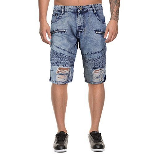 LR Scoop Men's Moto Quilted Distressed Skinny Jean Denim Shorts DZM-80 (34, Ligh