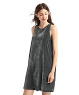 Gap Womens Velvet Swing Dress LARGE Cast Iron Gray 460148 - $26.99