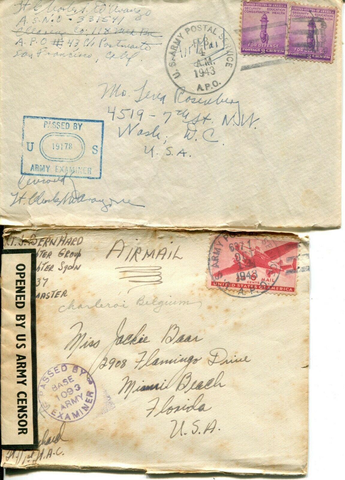 US Army Airmail WWII APO Navy Military Cover Examined Postage Collection  image 9