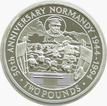 Royal Mint Guernsey 50th Annivesary of Normany 1994 £2 Silver Proof Coin... - $56.06