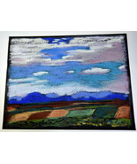 "12"" Vintage Pastel Drawing Green Brown Plains Blue Sky Shannon Brickey A... - $37.99"