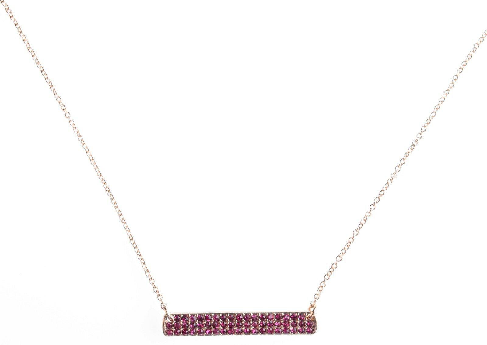 Cohesive Jewels Placcato Oro Rosa Zircone Cubico Cristallo Pave Barretta Collana