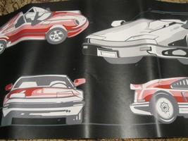 Fast Sports Red White Car Muscle Cars Black Wall Wallpaper Border EH99717 - $12.85