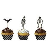 PARTYMASTER Halloween Decorations Bat And Skeleton Food Toothpicks Cupcake - $17.24