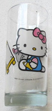 "1976 (1) Large ""Hello Kitty"" Design Paraglazed Collectible Libbey Glass Japan"